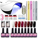 Saint-Acior Lámpara Unas 36W UV/LED Secador de Uñas Esmalte Semipermanente 8PCS Gel Uñas 8ML Top...