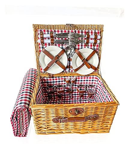 LHY 4 Person traditioneller Wicker-Picknickkorb - Wicker-Korb mit wasserdichtem Picknick-Decke, Keramikplatten, Weingläser, Korkenzieher, Zahnstocher-Flasche und Servietten für den Außenkampieren.