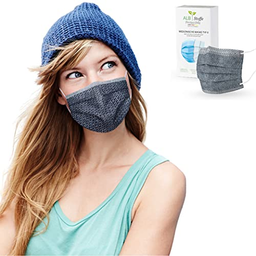 ALB Stoffe® ProtectMe - OP Masken KNIT GREY, 100% Made in Germany,...