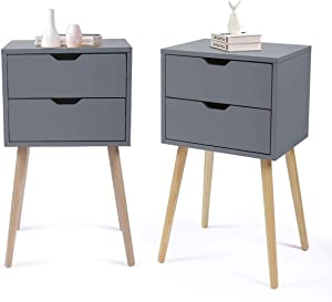 JAXSUNNY Set of 2 Nightstand Accent Bedside End Table Side Table Storage Wood Cabinet Bedroom w/2 Drawers,Gray