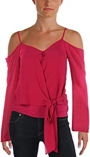 BCX Womens Cold Shoulder Waist Tie Crop Top Pink XS