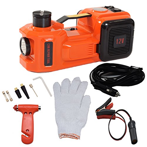 MarchInn 12V DC 5.0T(11000lb) Electric Hydraulic Floor Jack and Tire Inflator Pump and LED Flashlight 3 in 1 Set