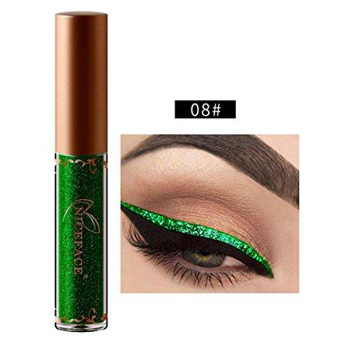 Kanzd Beauty Metallic Shiny Smoky Eyes Eyeshadow Glitter Shimmering Eye Shadow Long Lasting Waterproof Glitter Liquid Eyeliner (H)