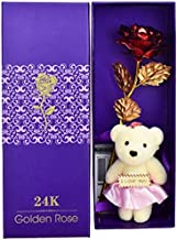 24K Red Rose with I Love You Teddy Bear Doll, Gift Box - Best Valentine's Day Gift, Birthday Gifts Gold Dipped Rose