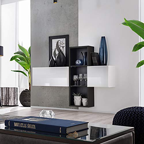 MSA BLOX Aparador I 140 cm de ancho flotante armarios estantes alto brillo PUSH-CLICK puertas negro/blanco