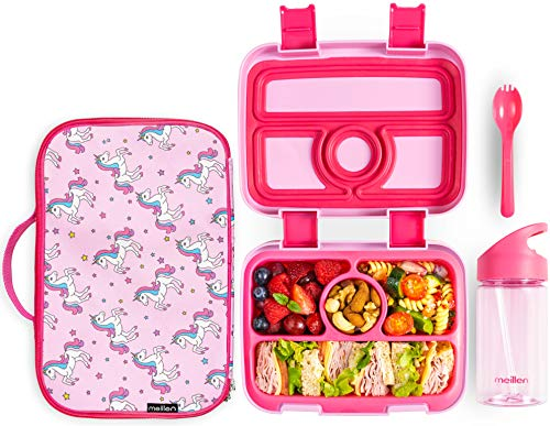 Meillen Kids Bento Lunch Box, Insulated Cooler Bag & Water Bottle, Leak-Proof 4-Compartment Snack...