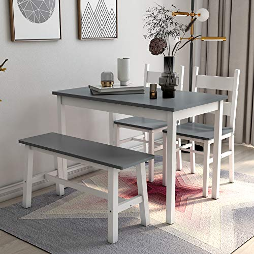 Mecor 4-Piece Kitchen Dining Table Set, Modern Solid Wood Table w/ 2 Chairs and Bench for Home Kitchen Dining Room Furniture, Grey