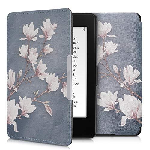 kwmobile Hülle kompatibel mit Amazon Kindle Paperwhite - Kunstleder eReader Schutzhülle (für Modelle bis 2017) - Magnolien Taupe Weiß Blaugrau