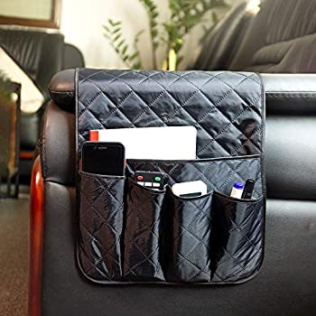 Sofa Chair Couch Armrest Organizer Bunk Bed End Table 5 Pockets Anti-Slip Armchair Storage Bag Fits for Tablet Phone Pad Book Magazines TV Remote Control Drinks Snacks Glasses