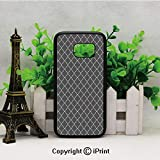 Floral Style Trellis Pattern Arabian Cultural Inspiration Curvy Motifs Decorative Samsung Galaxy S7 Case with Artistic Black Soft TPU and PC Protection Anti-Slippery Case for Samsung S7 Charcoal Grey