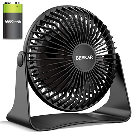 BESKAR Rechargeable Small Fan, 10000mAh Battery Operated Desk Fan with Max 36Hrs Runing Time, 3 Speeds & Strong Airflow, Quiet Operation, Personal Fan for Office Home Bedroom - 6-Inch Portable Fan