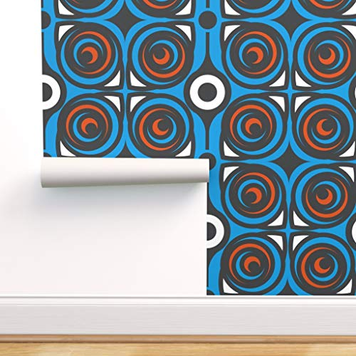 modern, Tapete, 60er, modern, Schleife Spezialangefertigte Vorgekleisterte Tapete 61 cm x 310 cm von Spoonflower