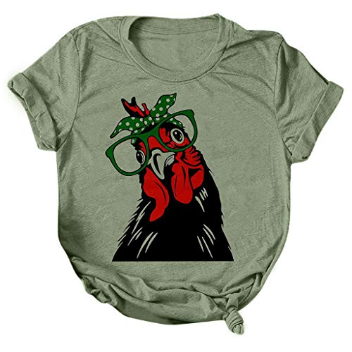 Fashion Women Shirts Plus Size Casual Tops Short Sleeve Cute Chickens Print Loose Fit Funny T Shirt Comfy Graphic Tees Green