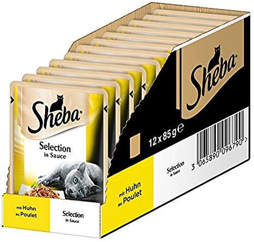 Sheba Comida para Gatos selección de Alimentos húmedos en Salsa para Gatos Adultos, con Pato y Pavo en Salsa (12x85 g)