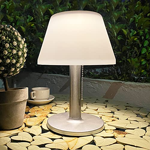LED Solar Outdoor Table Lamp-3 Way Dimmable Solar Modern Bedsid Lamp,Solar Nightstand Lamp with Pull Chain for Bedroom Living Room,Kids Room,Boocase