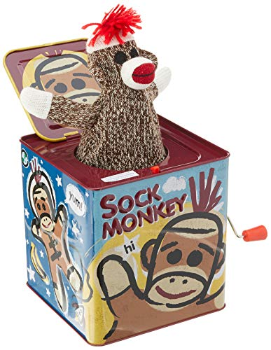 Schylling SC-SMJB Sock Monkey Jack in The Box, Toy, Assorted Designs and Colours, 1 EA
