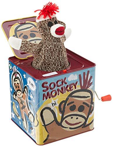 Schylling- CALZINO Monkey Jack in Scatola, Multicolore, 1 EA, SC-SMJB
