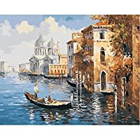 数字による油絵ヴェネツィアキャンバス上の数字によるDIYペイント風景フレームレスデジタル手描きの装飾アート