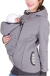 Women's Maternity Zip Up Baby Carrier Hoodie Coat Sweatshirt Jacket S-2XL