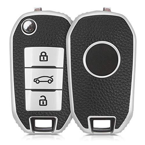 kwmobile Funda para Mando de Coche Compatible con Peugeot Citroen - Carcasa de TPU Tipo Cuero con Botones para Coche - Plata/Negro
