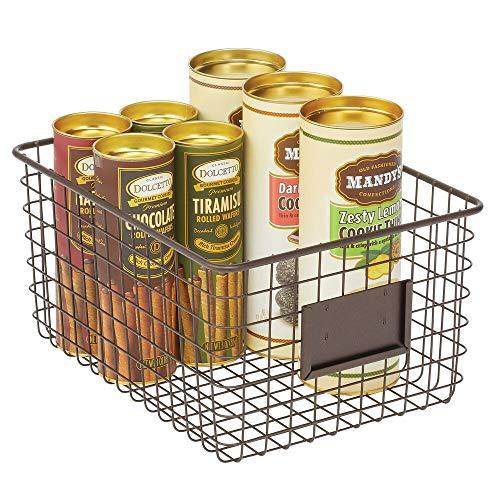 mDesign Caja multiusos de metal – Caja organizadora multifunción para cocina, despensa, etc. – Cesta de almacenaje de alambre, compacta y universal – color bronce