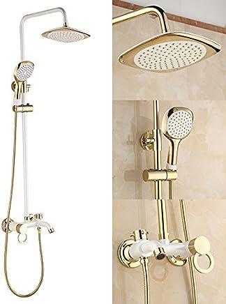 Noir Colonne de douche en Acier Inoxydable,Syst/ème de douche Panneau avec jets de massage,Douchette /à main,Cascade et douche effet pluie,130x47x15cm