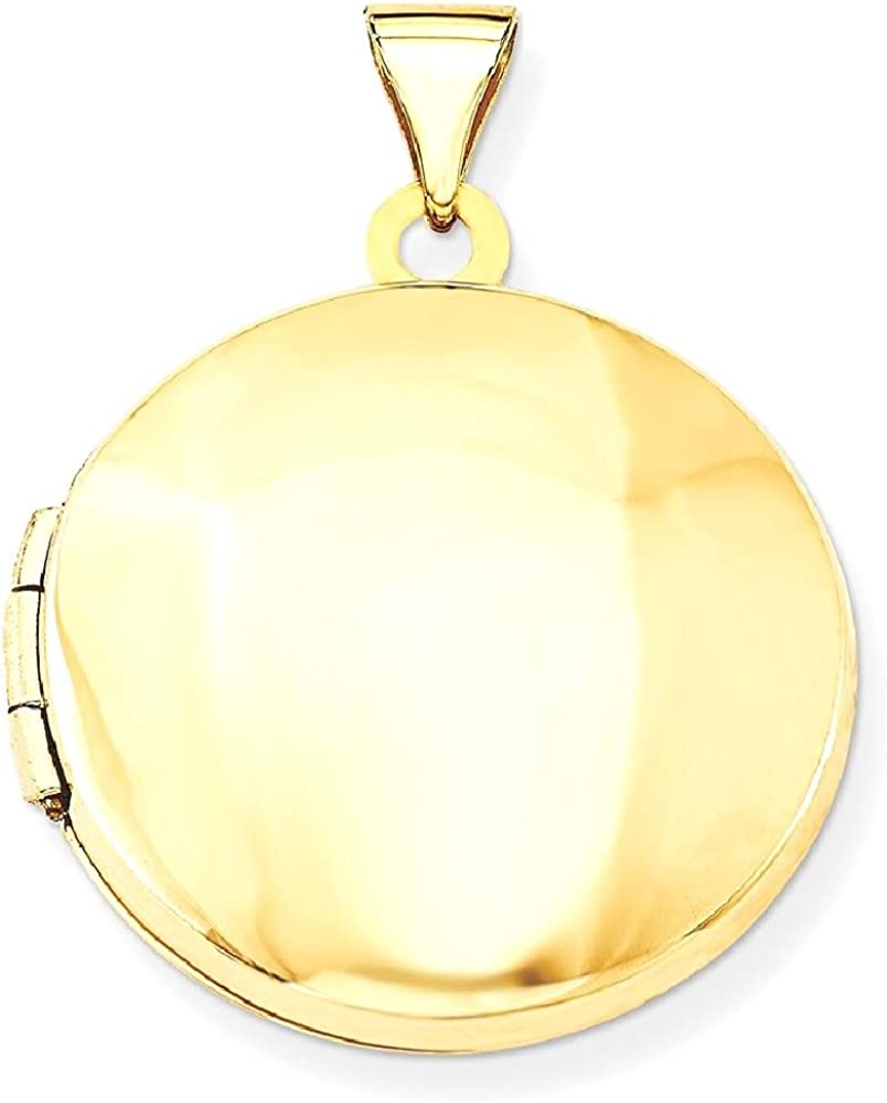 14k Yellow Gold 20mm Round Domed Photo Pendant Charm Locket Chain Necklace That Holds Pictures Shaped Fine Jewelry For Women Gifts For Her