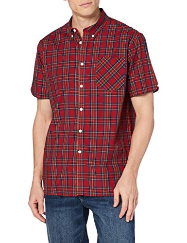 Merc of London Mack - Chemise Casual - Coupe droite - Col boutonné - Manches courtes - Homme - Rouge (Stewart Red) - X-Large (Taille fabricant: XL)