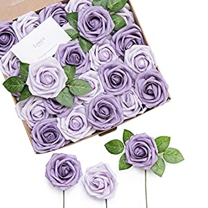 Ling's moment Artificial Flowers African Violet Purple Roses 25pcs Real Looking Fake Roses w/Stem for DIY Wedding Bouquets Centerpieces Arrangements Party Baby Shower Home Decorations