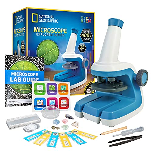 NATIONAL GEOGRAPHIC Microscope for Kids - STEM Kit with an Easy-to-Use Kids Microscope, Up to 400x Zoom, Blank and Prepared Slides, Rock and Mineral Specimens, and More, Great Science Project Set