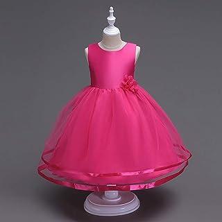 Belts Rose Dress Girl Prom Ball Gown Children's Princess Dress (Color : Rose, Size : 130cm)
