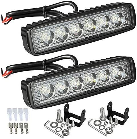 Partsam 6 LED Light Bar 36W 6500K Super Bright Spot Work Light Pods Single Row Off Road Driving product image