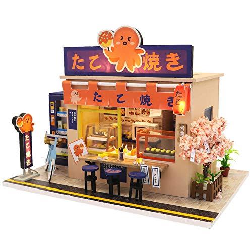 Septiembre-1: 24 Escala Japonés Estilo Takoyaki Tienda Modelo Miniatura Casa de Muñecas Kits para Regalo de Cumpleaños