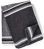 Genuine Mexican Handwoven Blanket, Premium Large Heavyweight Falsa Blanket, Serape & Yoga Blanket | Beach Blanket | Throw Blanket | Picnic Blanket (Traditional, Noche)