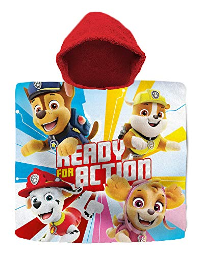 Paw Patrol - Poncho de mano para niños, albornoz, toalla de playa, diseño de policía de perros