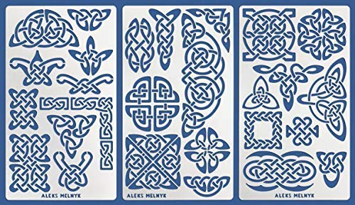 Aleks Melnyk #37 Metal Journal Stencils/Celtic Knot/Wicca, Irish Stencils, 3 PCS/Templates for Painting, Wood Burning, Pyrography, Wood Carving, for Embroidery, Quilting/Scandinavian, Viking Symbols