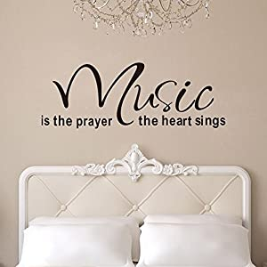 Music is The Prayer The Heart Sings Vinyl Wall Decals Quotes Sayings Words Art Decors Stickers