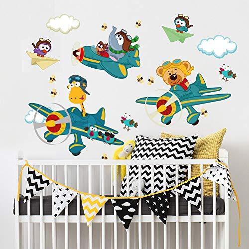 Vinilo infantil kina R00036 - Carrera de aviones - Medidas 120x30 cm - Decoración de pared, Vinilos decorativos, Papel pintado
