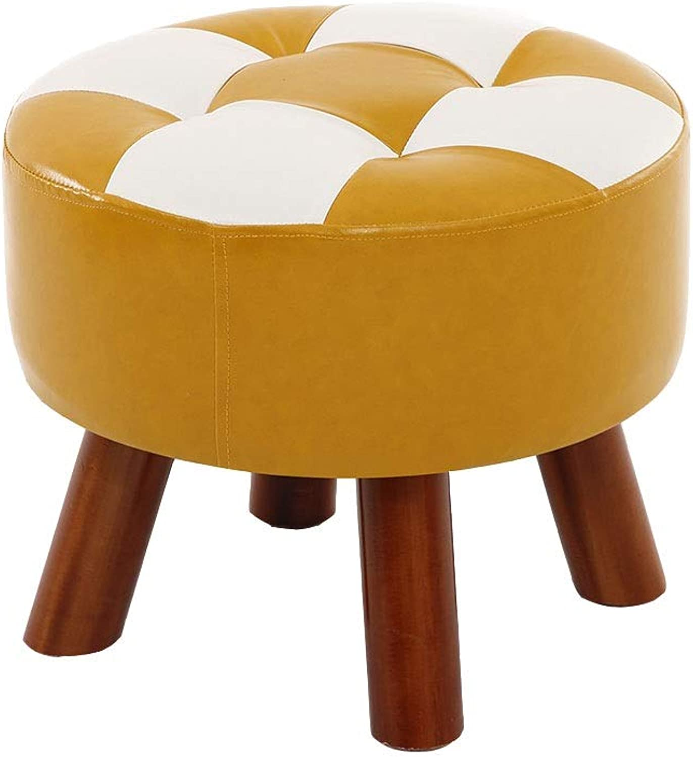 Foot Stools Pouffe Footstool PU Upholstered Footrest Change shoes Bench Chair Round Small Wooden Stool for Living Room (color   Yellow)