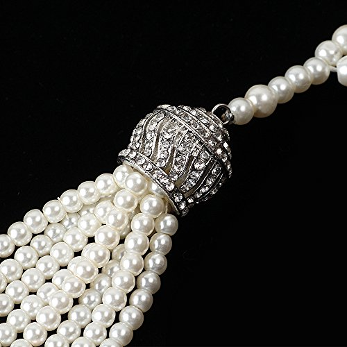 Beelittle 1920s Great Gatsby Faux Pearl Necklace Silver Pendants Necklace Flapper Accessories for Women