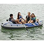 Intex Excursion Inflatable Boat Series 8 3 air chambers including an auxiliary air chamber in hull for extra buoyancy Boston valve on two main hull chambers for quick-fill & fast-deflate. All around grab line Inflatable I Beam floor for comfort and rigidity. Has 2 welded oar locks on each side