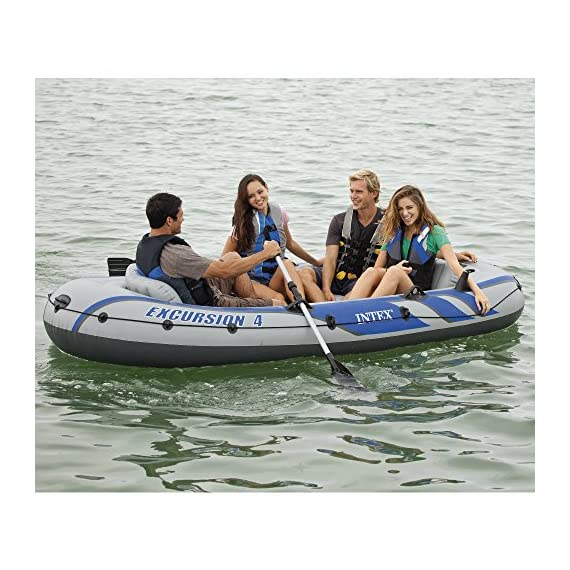 Intex Excursion Inflatable Boat Series 4 3 air chambers including an auxiliary air chamber in hull for extra buoyancy Boston valve on two main hull chambers for quick-fill & fast-deflate. All around grab line Inflatable I Beam floor for comfort and rigidity. Has 2 welded oar locks on each side