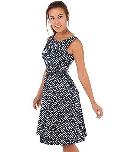 KRISP Damen 50er Jahre Vintage Kleid (Marineblau, M)
