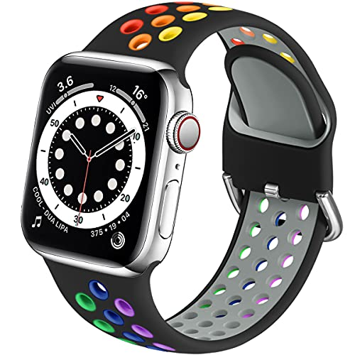 Muranne Sport Bands Compatible with Apple Watch 40mm 38mm iWatch SE & Series 6 & Series 5 4 3 2 1 for Women Men, Black/Rainbow, M/L
