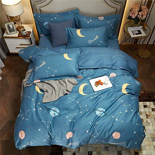 BuLuTu Twin Kids Duvet Cover Set Space Moon,Stars,Planet Pattern for Toddler,Boys,Girls Ultra Soft...