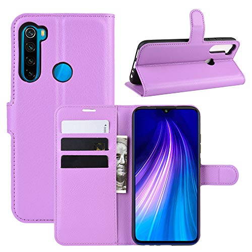 Janeqi Teléfono Caso - para Xiaomi Redmi Note 8 Funda Cáscara,Funda Protectora Multifuncional para teléfono móvil con Tapa de Lichi en Color Liso Case Cover - púrpura