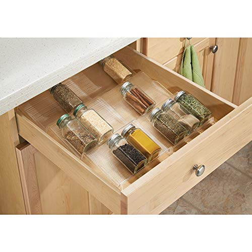 mDesign Adjustable, Expandable Plastic Spice Rack, Drawer Organizer for Kitchen Cabinet Drawers - 3 Slanted Tiers for Garlic, Salt, Pepper Spice Jars, Seasonings, Vitamins, Supplements - Clear