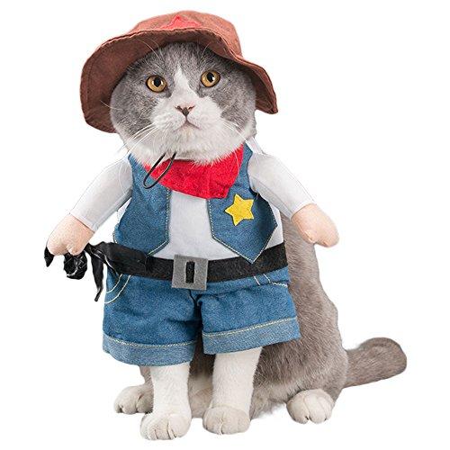 G-Like Hunde Katzen Haustier Kleidung Kostüm Süß Niedlich Puppy Miezen Jacken Gestaltwandel Bekleidung Hemden Kleider Anzüge Outfit für Halloween Weihnachten (XL, Cowboy)