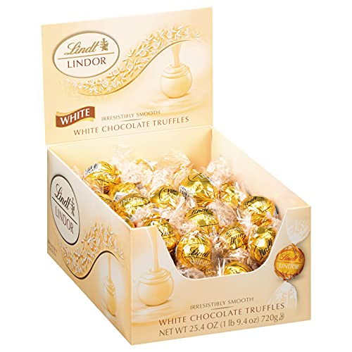 Lindt LINDOR White Chocolate Truffles, White Chocolate Candy with Smooth, Melting Truffle Center, 25.4 oz., 60 Count