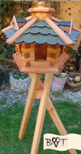 XXL Vogelhaus, Gartendeko , große Größen, auch mit vogelhausständer und Silo, ACHTUNG kein Bausatz von amazon oder zum Bemalen aus Holz, behandelt Futterhaus mit GRÜN moosgrün + GRAU Dach Schindel mit Silo + Ständer - 3